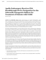 Apollo Endosurgery Receives FDA Breakthrough Device Designation for the Orbera(R) Intragastric Balloon for Treatment of Patients with NASH-thumbnail